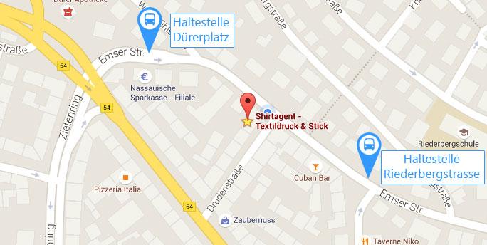 Anfahrt Shirtagent Textildruck & Stick Wiesbaden